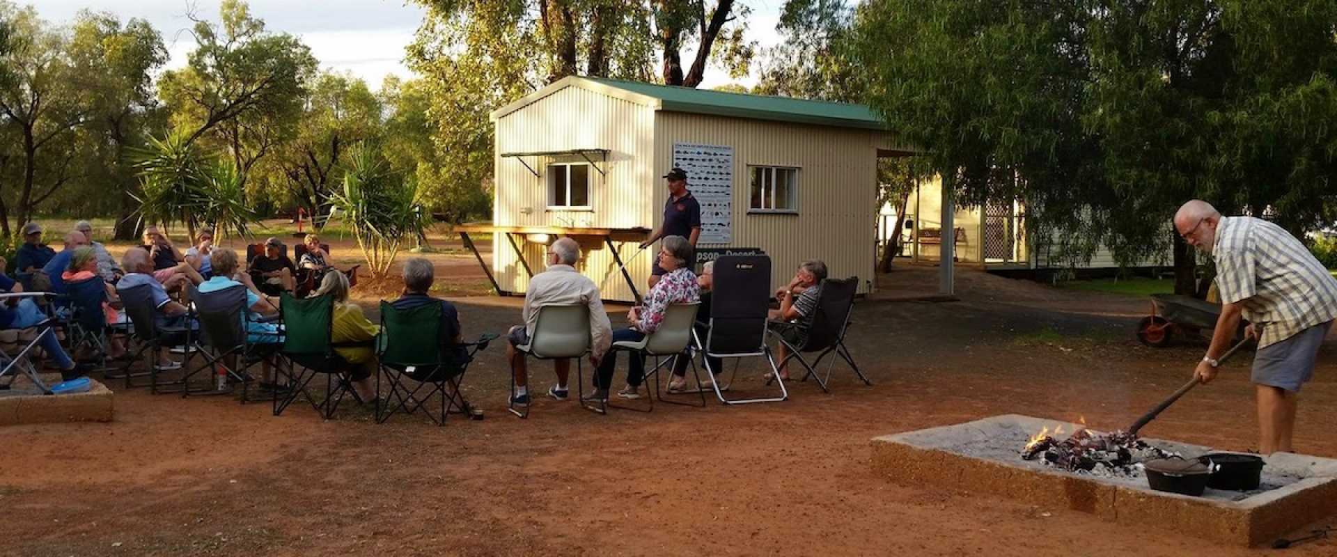 Kui Parks, Charleville Bush Caravan Park NSW, Happy Hour